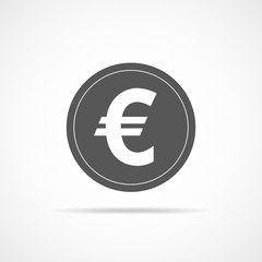 Gray euro currency icon. Vector illustration.