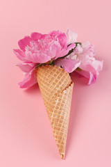 peony flowers in the waffle cone