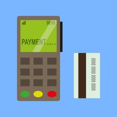 the terminal for payment by credit card. vector illustration