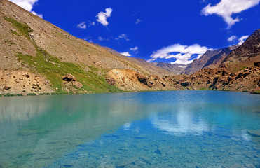 Clearwater Lake in the High-Altitude Mountain Desert of the Himalayas