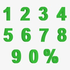 Set 3D of figures of green color and sign of percent