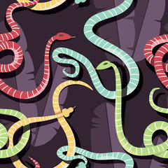 Seamless pattern with colorful intertwined striped rain forest snakes