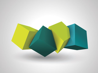 Abstract Composition of 3d cubes