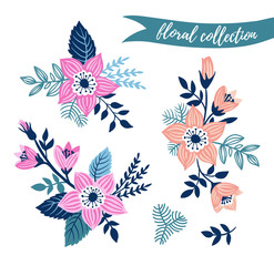 Vector floral set. Colorful floral collection with leaves and flowers hand drawn. Spring or summer design for invitation, wedding or greeting cards. Vector illustration.