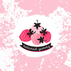 """Vector label with pink and red strawberry on the splashes background. Berry with stylish calligraphy on the ribbon """"natural yummy""""."""