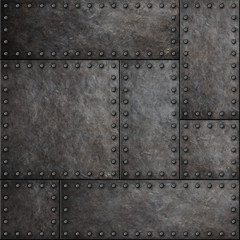 Wall Mural - Dark metal plates with rivets seamless background or texture