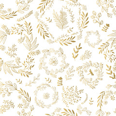 Vector gold pattern, floral texture.
