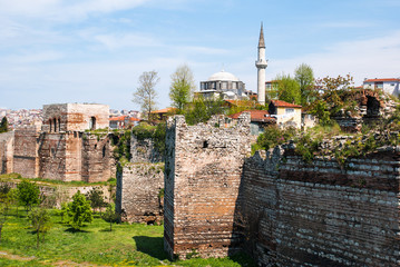 View of the Byzantine city walls of Istanbul (Theodosius wall) after a partial restoration, near the Golden Horn