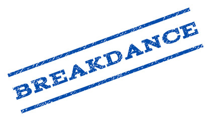 Breakdance watermark stamp. Text tag between parallel lines with grunge design style. Rotated rubber seal stamp with scratched texture. Vector blue ink imprint on a white background.