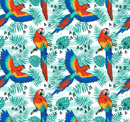 Ara parrot vector seamless pattern. Tropical fabric design with leaves and birds.