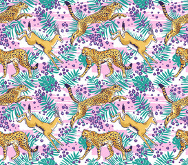 Leopard or cheetah and palm leaves tropical  seamless pattern. Stylish wild vector background.