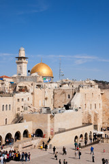Wailing Wall and the Dome of the Rock on the Temple Mount in Jerusalem, Israel