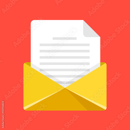 open envelope with letter yellow envelope icon email e mail send