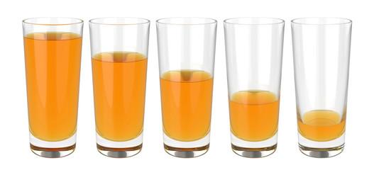 Set of glasses of apple juice on white background, 3D rendering