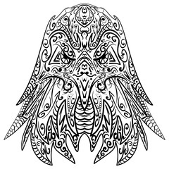 Zentangle stylized eagle head vector illustration