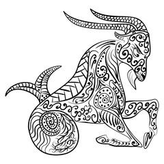 Zentangle zodiac capricorn vector illustration