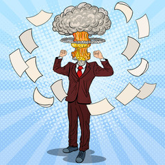 Pop Art Stressed Businessman with Explosion Head. Vector illustration