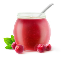 Isolated cranberry jelly. Cranberry fruits and open jam jar isolated on white background with clipping path