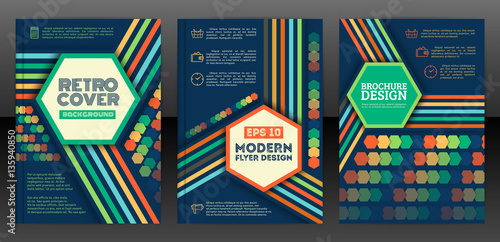 brochure cover design templates in retro style hexagons and line