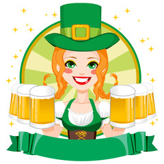 Pretty Saint Patrick girl waitress smiling holding mugs of golden beer with green Leprechaun hat and banner