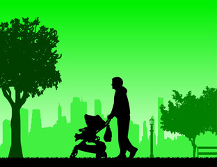 Father walking with his baby in a stroller in the park, one in the series of similar images silhouette