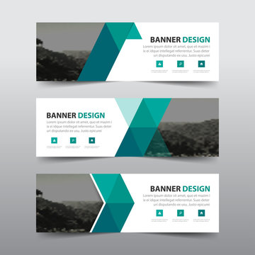 Green triangle abstract corporate business banner template, horizontal advertising business banner layout template flat design set , clean abstract cover header background for website design