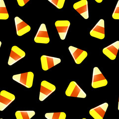 In de dag Draw Seamless Halloween pattern with candies on black