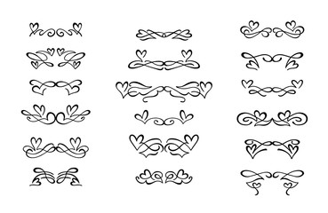 Set of hand drawn calligraphic design elements.