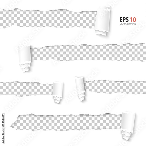 Torn Paper Vector Collection Of Holes In White Paper With