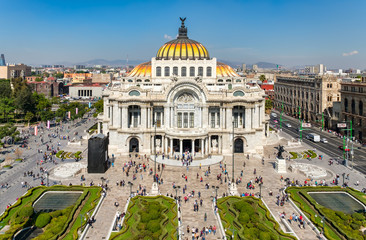 Wall Murals Theater Palacio de Bellas Artes or Palace of Fine Arts in Mexico City