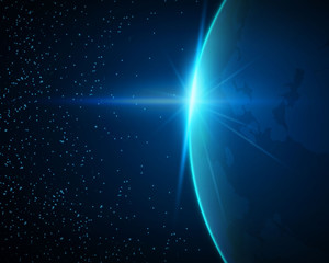 Vector Illustration of Planet Earth. Blue Sunrise View from Space.