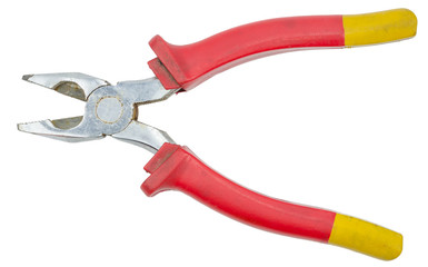 Red pliers isolated on white background with clipping path