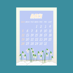 March 2017  calendar with snowdrops flowers on blue background