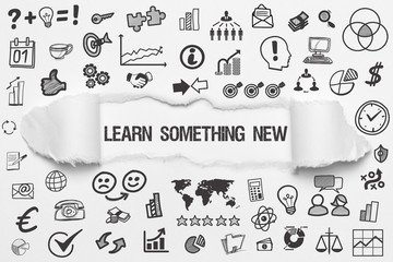 Learn something new / weißes Papier mit Symbole