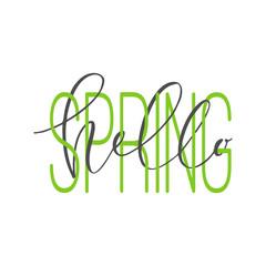 """Hello spring"" phrase. Interlaced words. Brush pen calligraphy"