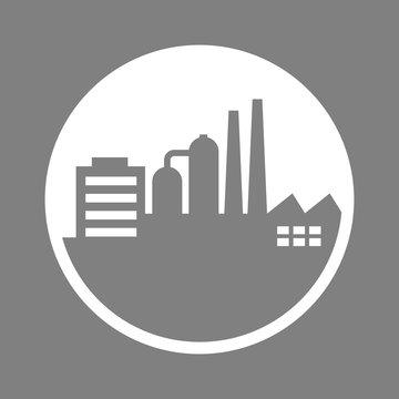 Grey factory vector icon, industrial building