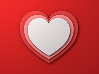 White heart on red layer hearts valentines day card background with shadow 3D rendering