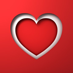 Red paper cut heart hole Valentines day card with blank red background and shadow 3D rendering