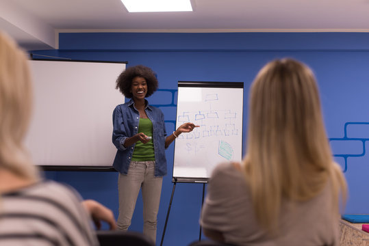 Black woman Speaker Seminar Corporate Business Meeting Concept