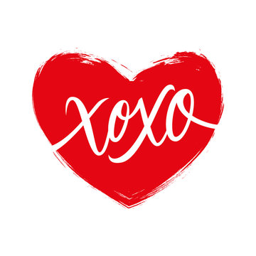 Handwritten phrase XOXO, hugs and kisses, with brush stroke heart shape background. Vector illustration.