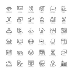 Outline icons. Business