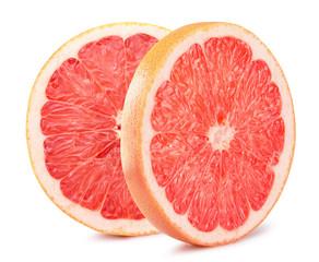 grapefruit slices isolated on the white background