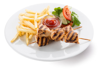 potato fries with grilled chicken and vegetables