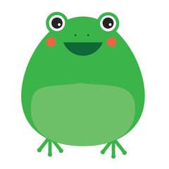 Cute kawaii frog character. Children style, vector illustration