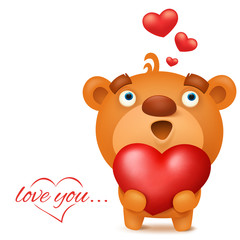 Brown funny emoji teddy bear with red heart
