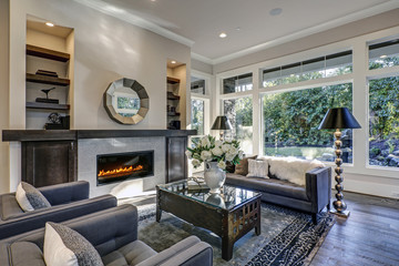 Chic living room filled with built-in fireplace