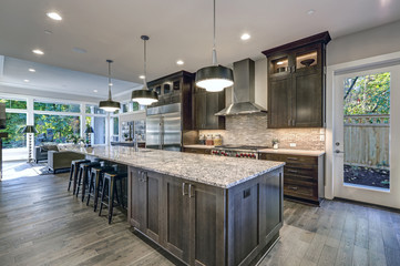 Modern kitchen with brown kitchen cabinets