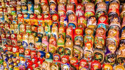 Full Frame Shot Of Russian Nesting Dolls At Market Stall