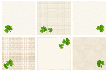 Set of vector St. Patrick's day textured backgrounds with shamrock leaves.