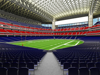 3D render of modern American football super bowl lookalike stadium with red and blue seats